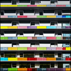 Colours (Maerten Prins) Tags: madrid windows building colors modern spain doors colours numbers balconies appartement spanje insnacionaldeestadstica