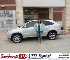 Southwest KIA of Rockwall would like to say Congratulations to Kelli Franklin on the 2008 Lexus RX 350 (Southwest Kia Rockwall) Tags: new southwest car sedan truck wagon happy dallas texas tx used vehicles mesquite bday dfw kia van suv coupe rockwall dealership hatchback dealer customers minvan 4dr metroplex shouts 2dr preowned