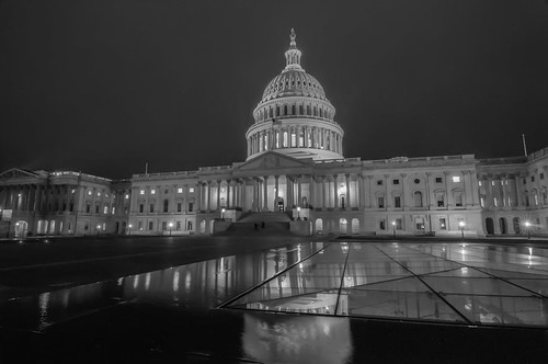 capitol building at night black and white
