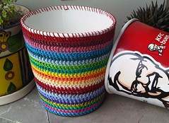 Dressing up a KFC bucket :D (LauraLRF) Tags: rayas colors thread paper stripes crochet colores bin cotton basura kfc hilo papel recycle reciclar tacho algodon cesto reciclado ganchillo papelero