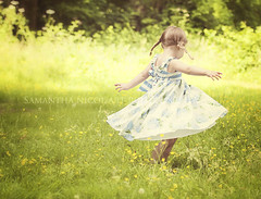 Twirls and Pigtails... (Samantha Nicol Art Photography) Tags: park portrait green art girl grass dance dress bokeh samantha pigtails pleats nicol