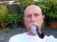 (treeman973) Tags: smoke pipe shavedhead baldguy pipesmoker