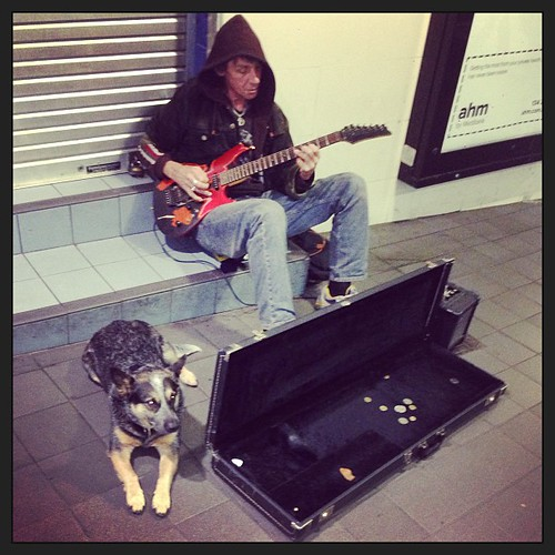 "Guitarist and his dog #buskers #guitar • <a style=""font-size:0.8em;"" href=""http://www.flickr.com/photos/35408999@N00/9573772523/"" target=""_blank"">View on Flickr</a>"