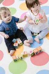 Having Fun (Derek_Flynn) Tags: friends portrait cute loving children infant child play letters creative blocks playfull lovely playtime infants strobist