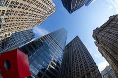 Red Cube and upwards (beeldmark) Tags: new york city newyorkcity red usa newyork ed us skyscrapers unitedstates zoom manhattan fisheye if vs lower amerika smc lowermanhattan stad staten redcube verenigde f3545 1017mm verenigdestaten pentaxda smcpentaxda1017mmf3545ediffisheyezoom smcpdafisheye1017mmf3545edif beeldmark