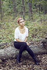 (handpainted-heart) Tags: trees summer portrait tree nature fashion female outdoors model woods sitting boots bokeh kerry longisland treetrunk sit shorthair woodsy cathedralpines pixiecut banigan prosserpines