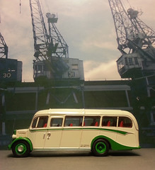 Bedford OB at The Docks for Export to Japan 1990. (Man of Yorkshire) Tags: bus docks bedford coach model ob oo gauge export diecast 176 blinkagain lro296