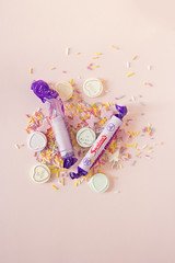 (magnolialux) Tags: stilllife food yummy still candy sweet sugar eat sprinkles eatme innocence sweeties violets parma lovehearts badforyou eatm sweetsmell 60d canon60d englishsweets