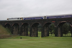 67030+92044 Fauldhouse, Scotland (Paul Emma) Tags: uk railroad train scotland railway class viaduct golfcourse 92 lothian dieseltrain fauldhouse 67030 5b26 67locomotivediesel locomotivesleepercaledonian sleeper92044class