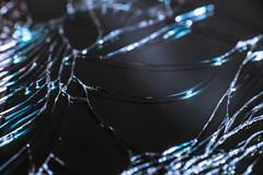 Sharply shaped turns on cracked screen (Olli Karjalainen) Tags: broken glass samsung screen galaxy cracked bluish dcr250 raynox raynoxdcr250 note2 makrokuvia