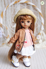 Jacket (Ylang Garden) Tags: rosenlied tinydoll chubbydoll cute vintage clothes coat jacket latiyellow pukifee cherry pink brown mondaychild