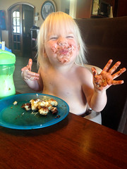 20160223_Shannon_phone_0029.jpg (Ryan and Shannon Gutenkunst) Tags: codygutenkunst boosterseat chocolate diningtable doughnut milk morningsnack tucson az usa