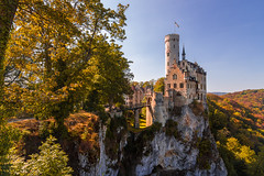 on the edge (nils_P) Tags: castle rocks autumn edge blue sky trees sunset golden hour