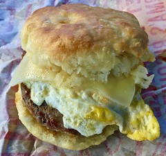 sausage egg and cheese biscuit Rise Biscuit Donuts Raleigh NC (Fuzzy Traveler) Tags: sausage egg cheddar cheese biscuit food risebiscuitdonut raleigh northcarolina restaurant