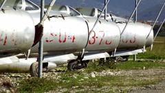 Shenyang F-6 c/n 3404 serial 3-44, Mikoyan - Gurevich Mig.19S c/n 1304 serial 3-04, Shenyang F-6 c/n 7128 serial 3-78, Mikoyan - Gurevich Mig.19S c/n 1303 serial 3-03 & Shenyang F-6 c/n 7117 serial 3-77 Albanian Air Force stored at Tirana Airport, Albania (sirgunho) Tags: shenyang f6 cn 3404 serial 344 mikoyan gurevich mig19s 1304 304 7128 378 1303 303 7117 377 albanian air force stored tirana airport albania