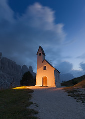 Ghost (Radisa Zivkovic) Tags: mountain night cloud chapel travel dolomites italy alps tyrol dusk path pass landscape peak range scenery outdoor dark illuminated trail blue red longexsposure beautiful building christianity religion