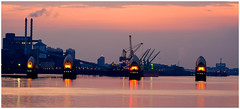Dawn at the Thames Barrier take 3... (kevingrieve610) Tags: river thames barrier greenwich london city flickr fujifilm wow dawn autumn 2016 water reflections