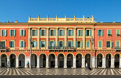 Place Messina (France through my eyes) (docoverachiever) Tags: france sunny colorful building italianarchitecture arches people red architecture shutters windows yellow placemassna nice placemassna