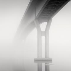 Crossing II (Vesa Pihanurmi) Tags: bridge fog monochrome blackandwhite porvoo emsalo reflection minimalism architecure