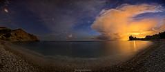 Cala del Charco (joaquinain) Tags: pano panormica nocturna nightly mar mediterrneo mediterranean sea seascape paisaje marina nubes clouds contaminacin lumnica light pollution long exposures largaexposicin olympus omd em1 voigtlander