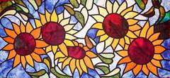 """Girasoles"" (Charo R.) Tags: patchwork vidriera girasol telas fabrics handmade hecho mano"