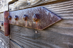No 3D Glasses Required (jim.choate59) Tags: hinge rust door fortvancouver wood weatheredwood bolt jchoate on1pics
