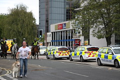 Polciing operation at Portman Road (Ian Press Photography) Tags: ipswich town football club portman road suffolk norwiich city fc 999 police emergency service services match old farm derby championship norfolk ford mondeo dog unit units k9 mounted horse horses ay11cfu