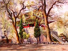 La porte Taedong au printemps - Ri Myong Jin (nokoredstar) Tags: aquarelle peinture coréedunord pyongyang paysage broderie