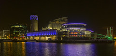 The Lowry (l4ts) Tags: greatermanchester manchester salford salfordquays northbay manchestershipcanal thelowry longexposure nightphotography milleniumbridge reflections