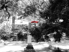 red....(HSS) (BillsExplorations) Tags: hss sliderssunday cemetery springdale clintonia red selectivecolor marker monument historic charger automobile car dodge tree field blackandwhite