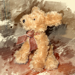 One of my assorted furry friends ... (boeckli) Tags: toy fluffy furry hund dog hairy stofftier textures texturen texture textur indoor friend companion stuffedtoy
