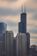Willis Tower (Zouhair Lhaloui) Tags: chicago willistower searstower architecture skyline skyscrapers highrises downtownchicago downtown clouds cloudy buildings sky usa citu ville urban zouhairlhaloui zlphotography 2016 nikond810 cityscape outdoor b tower skyscraper highrise city building
