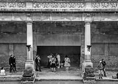 Pillars at the Roman Baths - Bath (bvi4092) Tags: d300s nikon nikkor nikon18105mmf3556 18105mmf3556 thebaths bath uk unitedkingdom england architecture photoshop roman baths romanbaths pillar outside outdoor exterior building blackandwhite bw