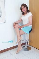 Short sleeve white blouse, light blue short skirt, nude flats ... (Elsa Adriana) Tags: elsaadriana sexylegs skirt flats crossdresser tgirl travesti transvestite