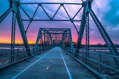 Old Cedar Sunrise (Doug Wallick) Tags: old cedar bridge historic renovated walking bike trail minnesota bloomington national wildlife refuge colorful sunrise november 2016
