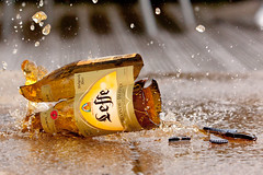 Smashed! (SkyFireXII) Tags: beer glass smash leffe splash liquid oca taop canoneos500d