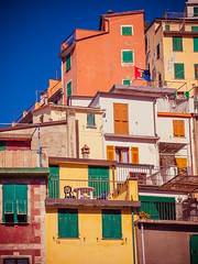 Riomaggiore / Cinque Terre (miemo) Tags: travel houses windows italy cliff buildings town spring colorful europe italia exterior village liguria hill terraces balconies cinqueterre walls riomaggiore