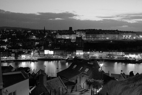 Whitby. night. IMGP8072 E bw
