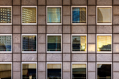 Building Reflections in La Defense (Hal Bergman Photography) Tags: abstract paris france colors architecture square french europe architecturaldetail ladefense financialdistrict brightcolors rectilinear