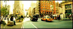 NYC (one-creature) Tags: nyc newyork 35mm lomo taxi horizon broadway panoramic analogue