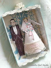 wedding shadowbox favor (maminkagirl) Tags: wedding cake vintage paper favor topper