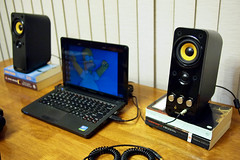New Speakers (td.tony) Tags: laptop creative books simpsons speakers lenovo netbook t20 s205