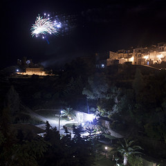 Light in the Night (Serena_Narese) Tags: light italy panorama castle night canon landscape italian italia fireworks sicily festa castello notte luce sicilia paesaggio bastione maggio fuochidartificio fuochi signore mazzarino dellolmo ocannone