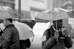 In A Hurry (RaulHudson1986) Tags: blancoynegro lluvia nuevayork