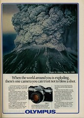 Olympus OM-1 and Mount St. Helens, May 18,1980 (Nesster) Tags: camera vintage magazine ad olympus advertisement advert 1981 april om popularphotography