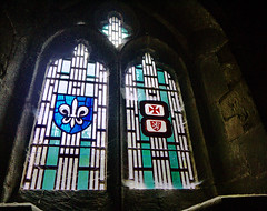 Stained Glass & Tracery (DncnH) Tags: blue light red church window glass contrast heraldry stainedglass cobweb stmarys tracery melton meltonmowbray