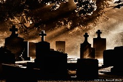 Enlightened (TooLoose-LeTrek) Tags: mist cemetery grave fog death haze cross headstone ethereal gravestone mysterious mystical rebirth atmospheric hs30