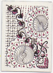 Swap - Black & White w Accent - #26 of 45 (ronniesz) Tags: art atc artisttradingcards doodles penandink tangles zentangle visuralarts