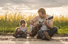 Like Father Like Son ...  ..         .   (Jagoda 1410) Tags: people nature childhood child friendship outdoor naturallight likefatherlikeson fatherson childphotography guitarlove takenwithlove gulczyska boyswithaguitar