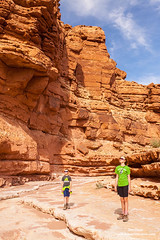Hikers in Cathedral Wash (Don Geyer) Tags: wild summer arizona usa sunlight ecology sunshine rock landscape outside outdoors landscapes us spring scenery rocks day unitedstates desert natural outdoor scenic dry sunny az canyon days springs backcountry environment daytime summertime wilderness habitat canyons deserts scenics springtime mojavedesert ecosystem environments wilds habitats glencanyonnationalrecreationarea ecosystems naturalenvironment uncultivated aridclimate naturalenvironments aridclimates springtimes hikersalongcathedralwashnearlee'sferry